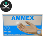 Ammex Glove, Vinyl Powder Free, Medical Exam, Small, VPF62100, 100 gloves per box, sold as 1 box