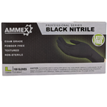 Ammex Glove, Nitrile Powder Free, Medical Exam Grade, Black, Large, ABNPF46100, 100 gloves per box, sold as 1 box
