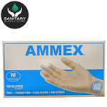 Ammex Glove, Vinyl Powder Free, Medical Exam, Medium, VPF64100, 100 gloves per box, sold as 1 box