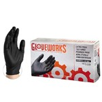Ammex Glove, Nitrile Powder Free, Black, Textured, Extra large, BINPF48100, 100 gloves per box, sold as 1 box