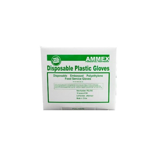 Ammex Glove, Food Service Poly, Small, PGlOVE-S, 697383934581, 1000 gloves per box, 10 box per case, sold as 1 box