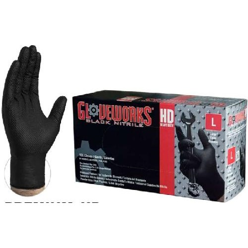 Ammex Glove, Nitrile Powder Free, Black Textured, Extra Large, 100 gloves per box, 10 boxes per case, sold as 1 box