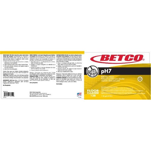 Betco, Secondary Label for pH7 Neutral Cleaner, 1389090, sold as each
