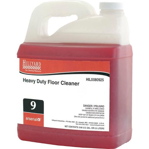 Hillyard, Arsenal One, Heavy Duty Floor Cleaner #9, Dilution Control, HIL0080925, Four 2.5 liter bottles per case, sold as One 2