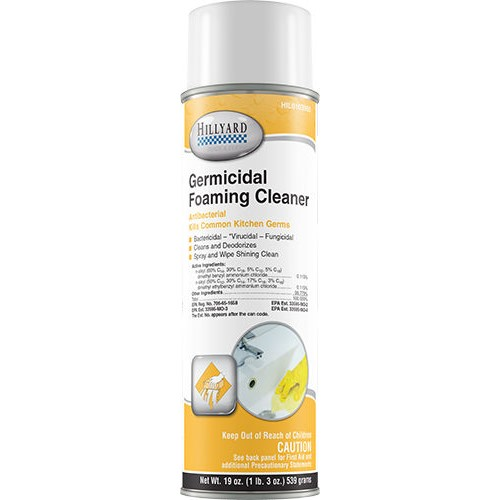 Hillyard Germicidal Foaming Cleaner, ready to use 20 oz aerosol can, HIL0103955, sold as 1 can, 12 cans per case