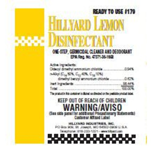 Hillyard, Label 179 Clean Assist Lemon Disinfectant, HIL31179, sold as each, 25 per package