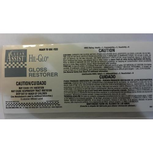 Hillyard, Label RTU #533 Hil-Glo Gloss Restorer, HIL31533, sold as each, 25 per pkg