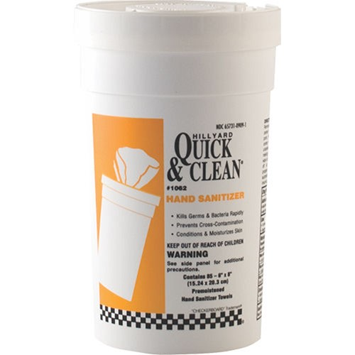 Hillyard, Quick and Clean Hand Sanitizer Wipes, 85 wipes per container, HIL01062, sold per container, 6 per case