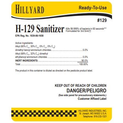 Hillyard, Secondary Label for #129 H-129 Sanitizer, HIL31129, sold as each