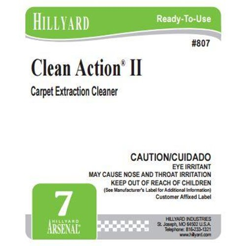 Hillyard, Secondary Label for 807 Arsenal Clean Action II, HIL31602, sold as each