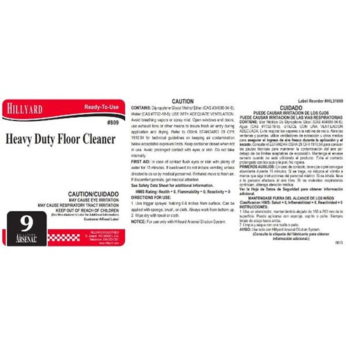 Hillyard, Secondary Label for 809 Arsenal Heavy Duty Floor Cleaner, HIL31609, sold as each