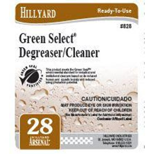 Hillyard, Secondary Label for 828 Arsenal Green Select Degreaser Cleaner, HIL31828, sold as each