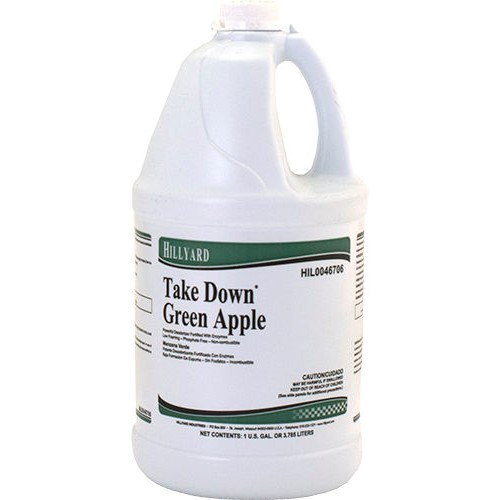 Hillyard, Take Down Enzyme Cleaner, green apple, 1 gallon concentrate, HIL0046706, sold as 1 gallon, 4 gallons per case