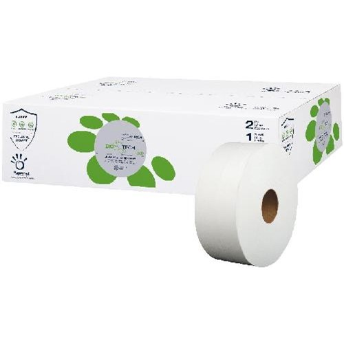 Papernet, Bio Tech, Jumbo Bathroom Tissue, White, 2 Ply, 3.3 x 9 inch, 1000 feet, 415595, 12 rolls per case, sold as case
