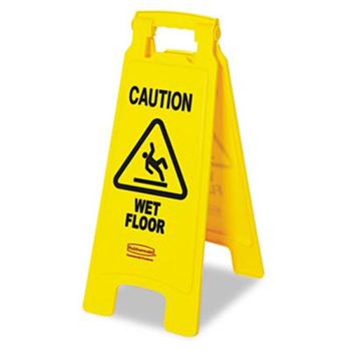 Rubbermaid, Caution Wet Floor Sign, 2 sided, RUB6112 77YW, 6 per case, sold each