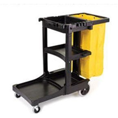 Rubbermaid Cleaning Cart with Zippered Yellow Vinyl Bag, Black, RUB617388, sold each