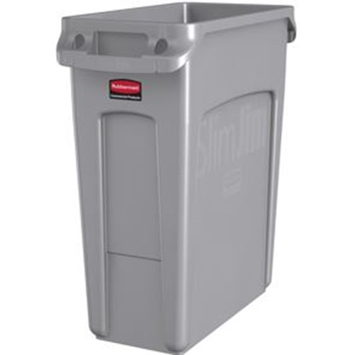 Rubbermaid, Slim Jim Waste Container with Handles, Light Gray, 15.875 gallons, RUB1971258, sold as each