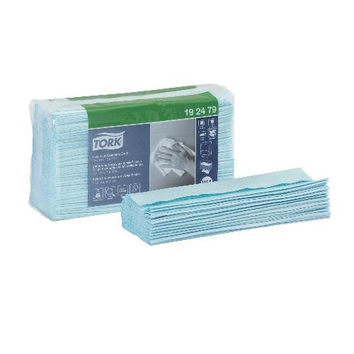 "Tork, Wipers, Low-Lint Cleaning Cloth, Top-Pak, 1 ply, Turquoise, 500 shts/rl, 16.4"" x 13.5"", W4, 192479, sold per case"