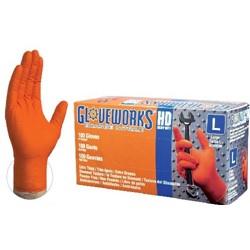 Ammex Glove Nitrile Powder Free Orange Textured Xx